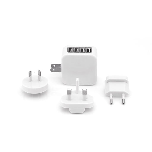 Zimtech Travel Adapter With 4 USB Hub (White)