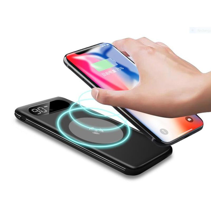 8000mAh | 2 In 1 Wireless Charging Powerbank |Built In Cable | Digital Display