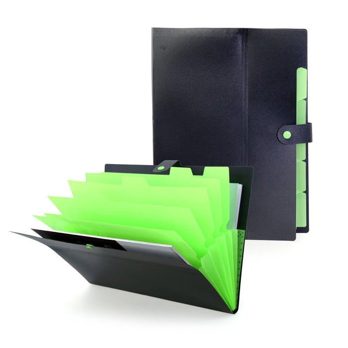 Cordelia 5 Pocket Document File (Black With Green)