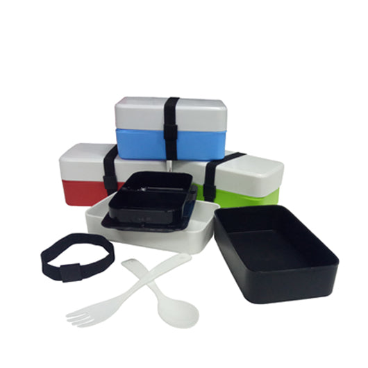 2-Tier Plastic Lunch Box with fork & spoon