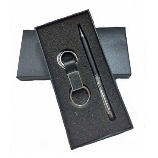 PU Leather Keychain with Crystal Metal Pen Set