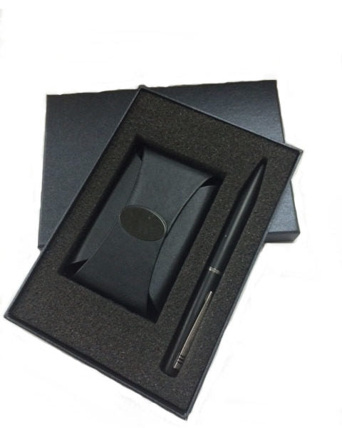 PU Leather Namecard Holder with Metal Pen Set