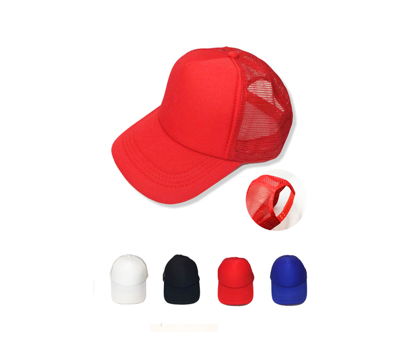 5-panel Mesh Knit Baseball Cap with plastic strap