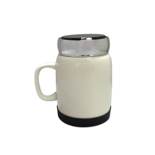 400ml Porcelain Mug with silver lid & silicon base