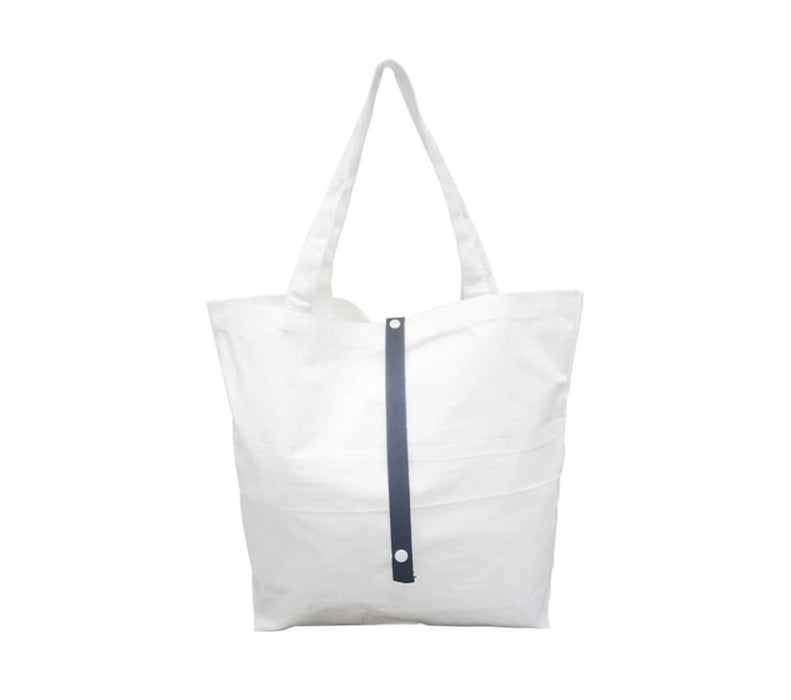 10oz Foldable Cotton Canvas Bag w/colored strap