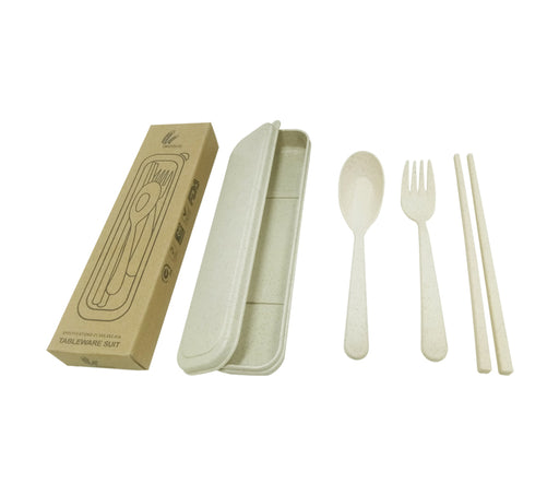 Straw Wheat Cutlery Set in box