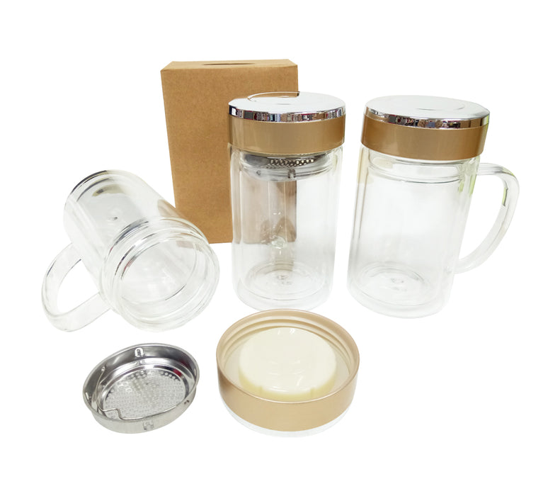 10oz Double Wall Glass Mug with filter