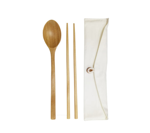 ECO-Friendly Wooden Cutlery in cotton pouch
