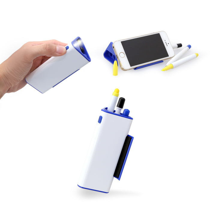 Pen Set With Phone Holder And Torch Light (Blue)