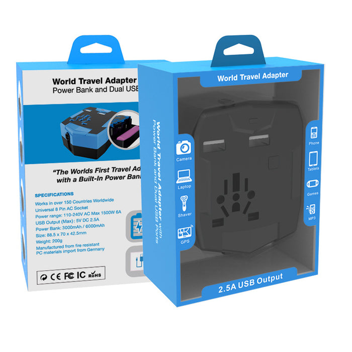 Travel Power Socket Adapter with Powerbank