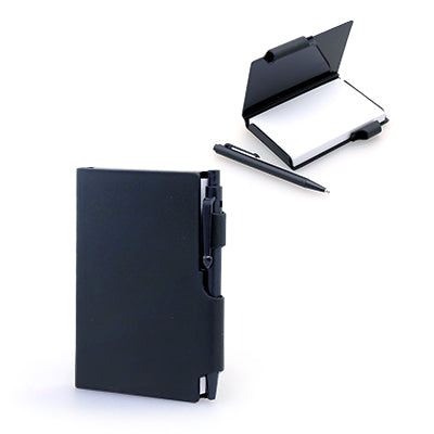 Damplus Mini Hard Cover Notepad With Pen (Black)
