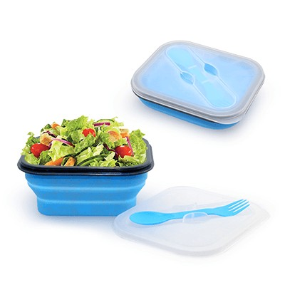 Foldable Lunch Box With Cutlery Set (Blue)