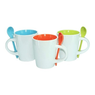Dual Color Ceramic Mug  Spoon