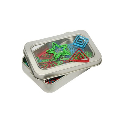 Assorted Shapely Clip In Tin Box (Blue, Red & Green) - AP