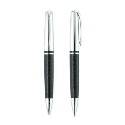 Silver Leather Ball Pen W Tube (Black with Silver)