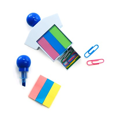 Highlighter With Sticky Notes and Paper Clips