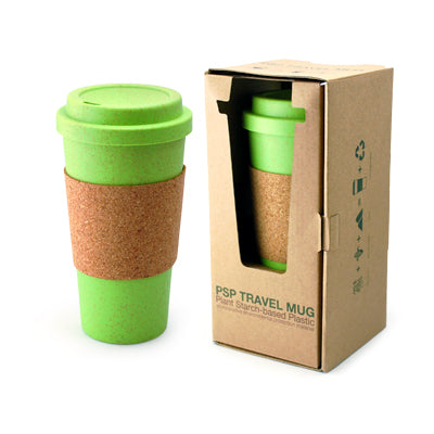 PSP Hot Beverage Travel Mug With Cork Sleeve (Green)