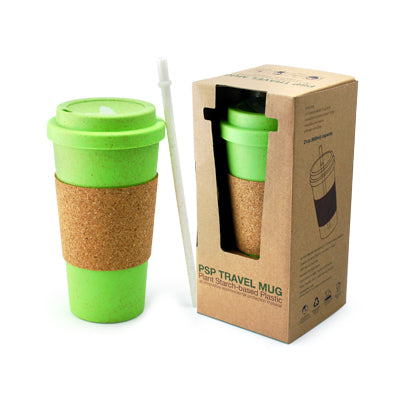 PSP Ice Beverage Travel Mug With Cork Sleeve & Straw