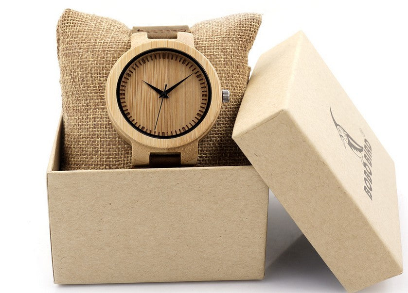 Bamboo Watch Quartz Real Leather Strap