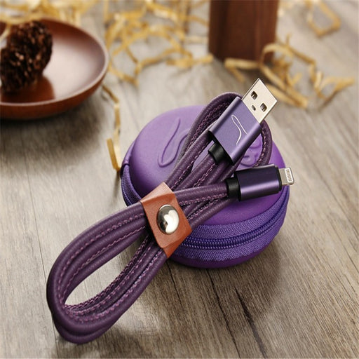 Genuine Leather Mobile Phone Cables with Pouch