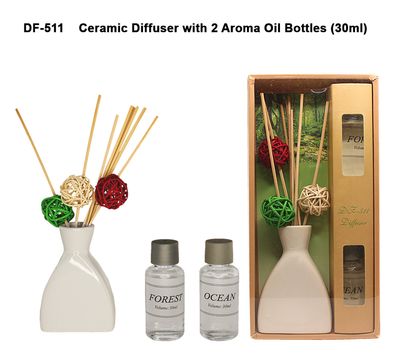 Ceramic Diffuser with 2 Aroma Oil Bottle