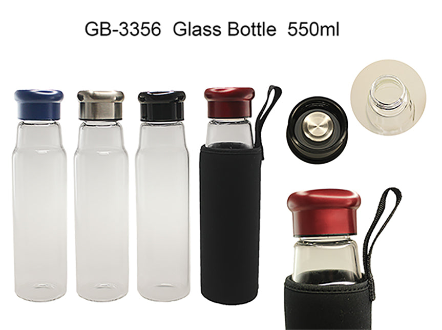 Glass Bottle with black neoprene pouch