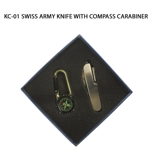 Swiss Army Knife with Compass Carabiner