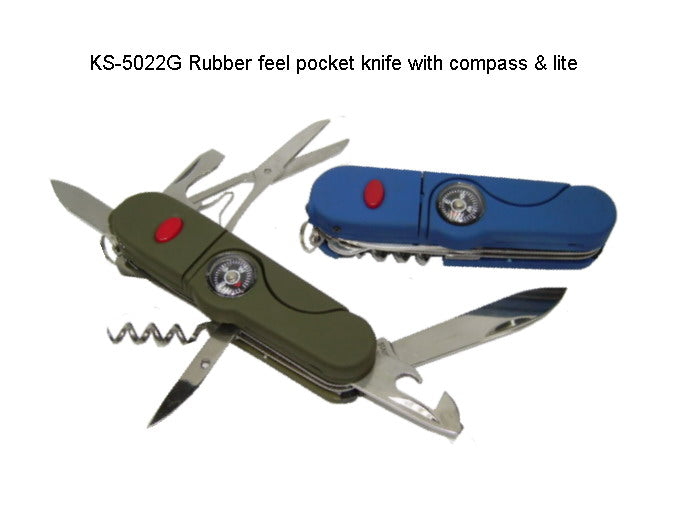 Rubber Feel Pocket Knife with Compass & Lite