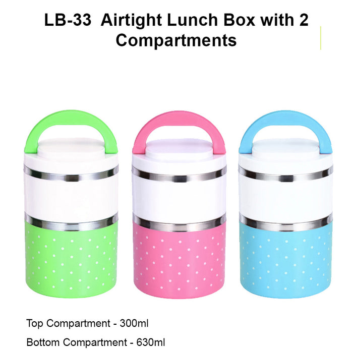 Airtight Lunch Box with Two Compartments