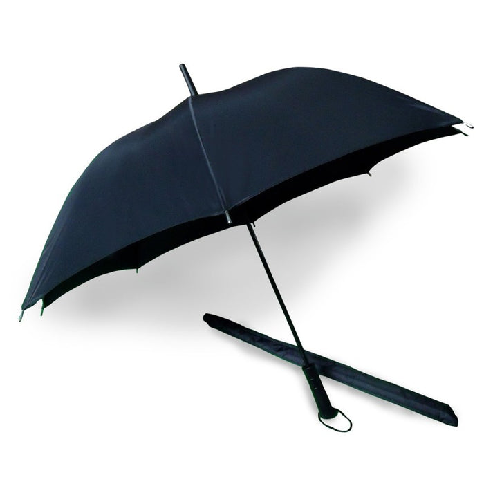 Black Straight Handle and Tip Umbrella