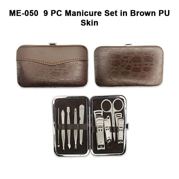 Manicure Set in Brown PU Skin