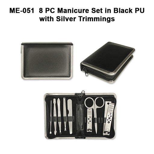 Manicure Set in Black PU with Silver Trimmings