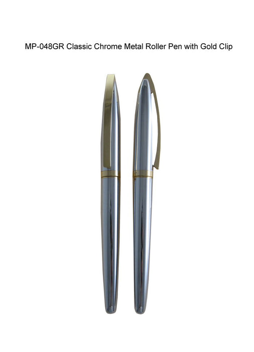 Classic Chrome Metal Roller Pen with Gold Clip