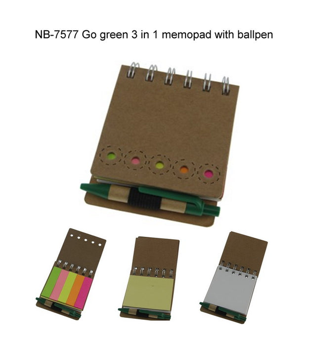 GO GREEN 3 in 1 Memopad with Ballpen