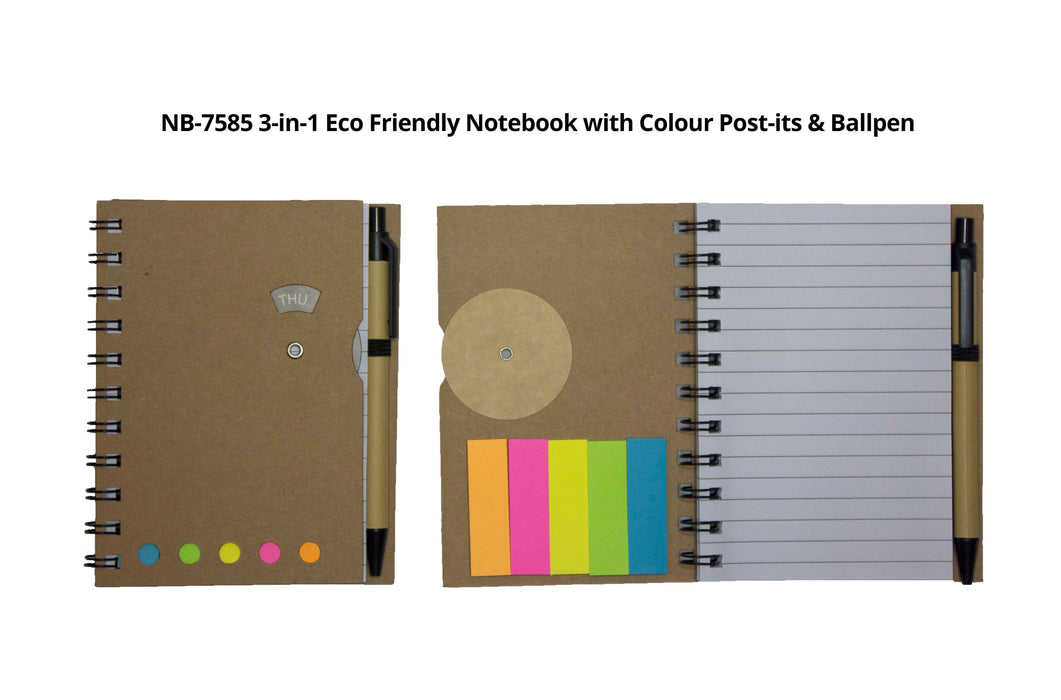 3-in-1 Eco-Friendly Notebook with Colour Post-its & Ballpen