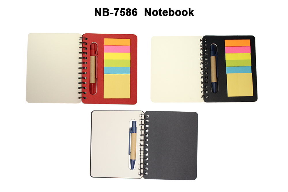 Notebook with post its, pen & plain writing paper