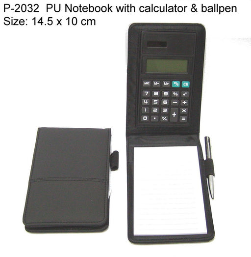 PU Notebook with Calculator & Ballpen