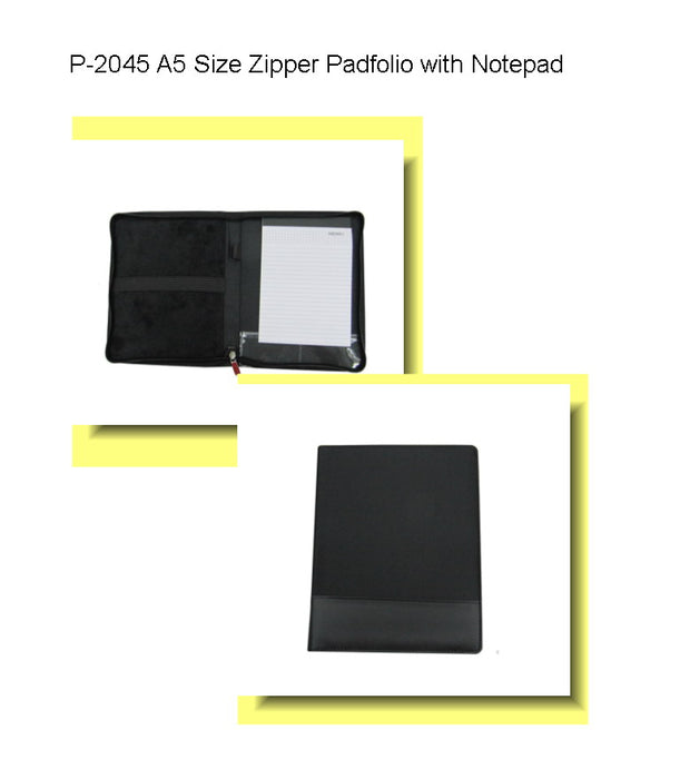 A5 Size Zipper Portfolio with Notebook