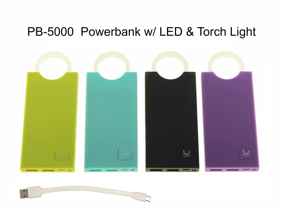 5,000mAh Powerbank with LED, Torch Light and Rubber Handle