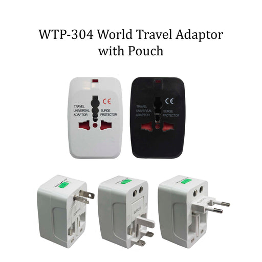 World Travel Adadptor with Grey Pouch