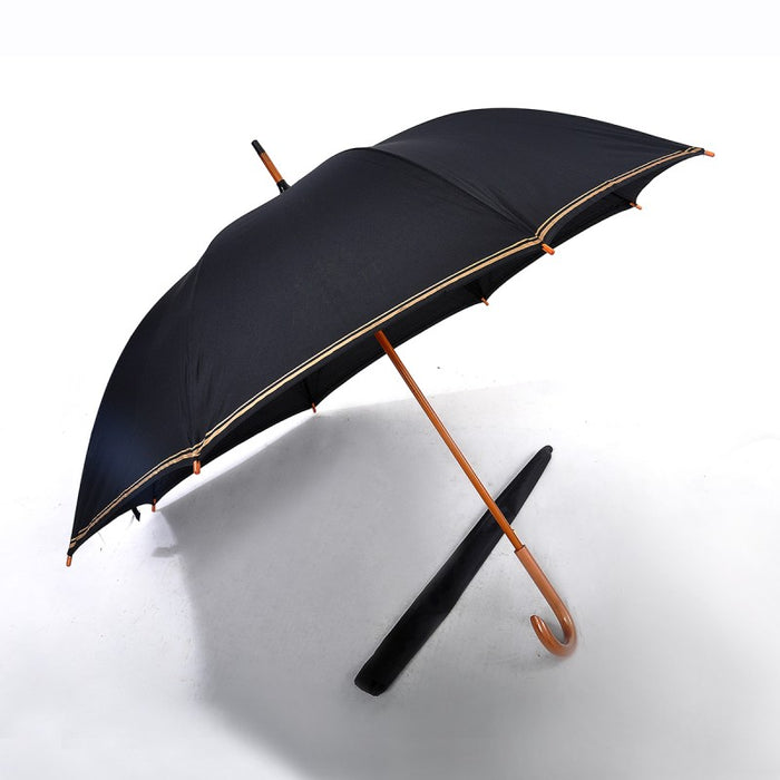 Real Wooden Shaft and Handle Extra Long Umbrella
