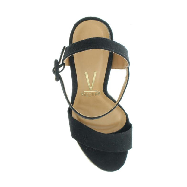 Vizzano 6383-100 Black Thick Heel Rope Sandals Brisa Shoes
