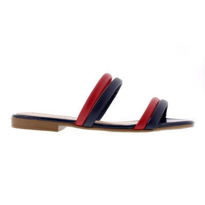 Beira Rio 8328-126 Navy and Red Flats Brisa Shoes