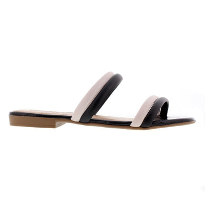 Beira Rio 8328-126 Black and Cream Flats Brisa Shoes