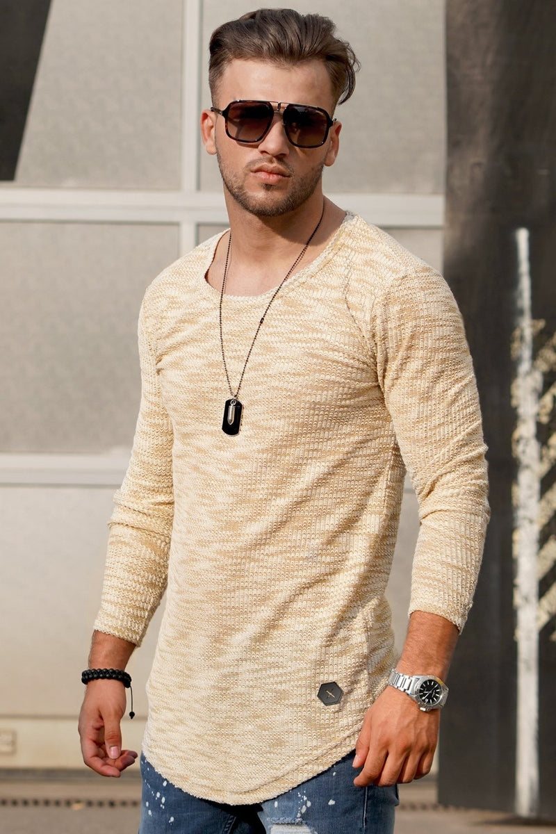 Men's Oval Longsleeve T-Shirt Sweater Muscle Tee Beige 7312