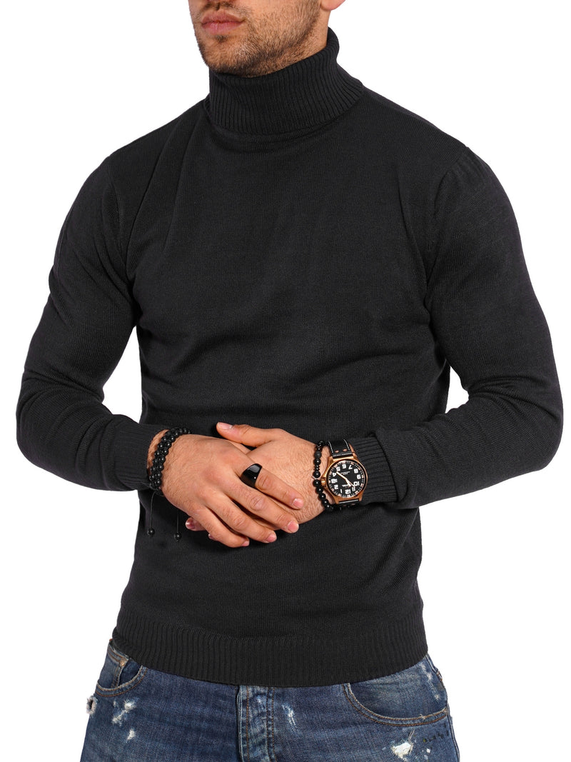 Men's Turtleneck Sweater Pullover Black Degenham