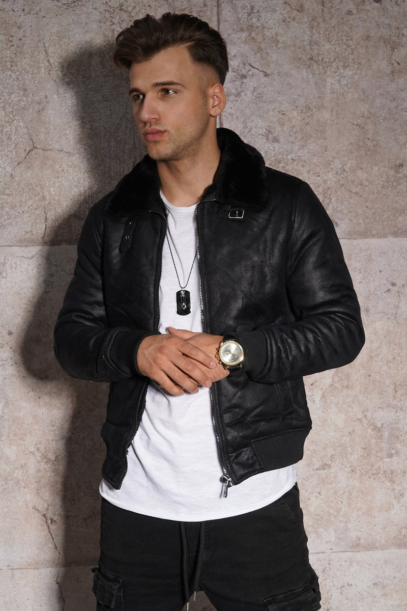 Men's PU Jacket Faux Leather Black PH-923