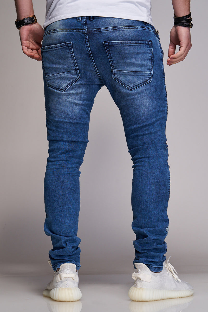 Men's Denim Biker Jeans Destroyed Blue B3029