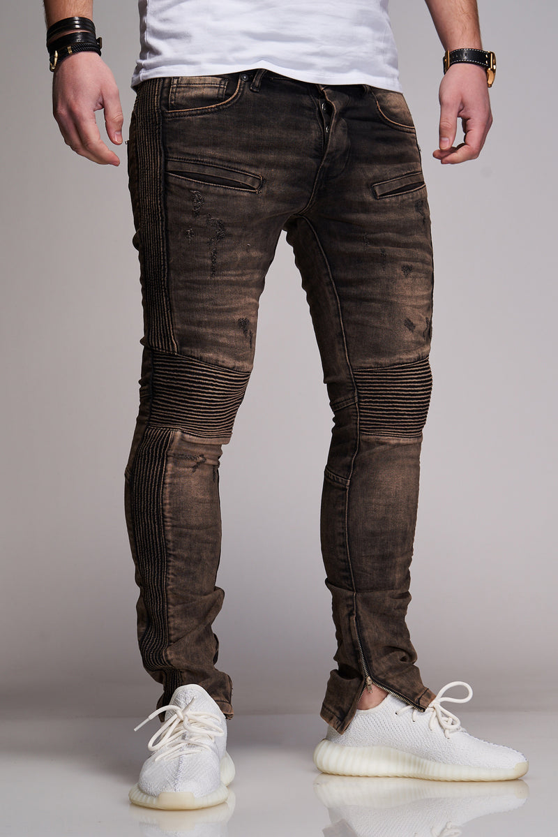 Men's Denim Biker Jeans Black B2921