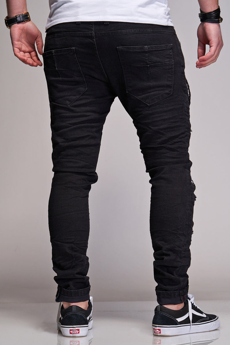 Men's Denim Jeans Destroyed Black B2887
